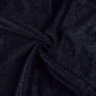 Ангора длинноворсовая трикотаж черно-синяя ш.130 оптом