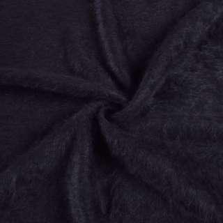Ангора длинноворсовая, трикотаж сине-черная ш.135 оптом