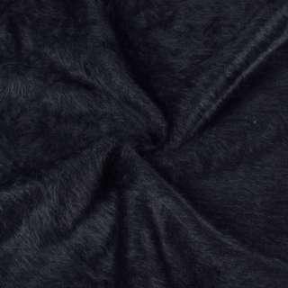 Ангора длинноворсовая трикотаж сине-черная плотная ш.135 оптом