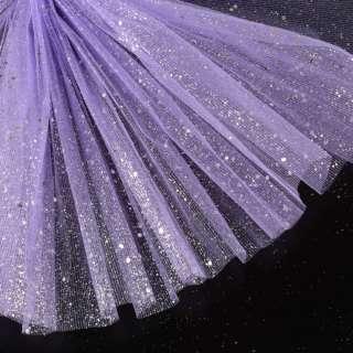 Фатин жорсткий з блискітками сріблястими бузковий ш.160 оптом