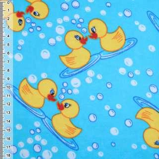 Фланель голубая с желтыми утятами ш.110 см оптом