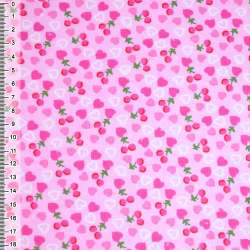 фланель розовая с сердечками и ягодками ш.105 оптом