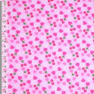 Фланель рожева з сердечками і ягідками ш.105 оптом