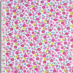 фланель белая с мелкими разноцветными цветами ш.105 оптом