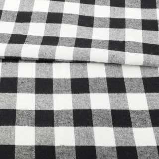 Фланель сорочкова в чорно-білу клітинку ш.137 оптом