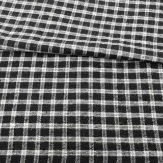 Фланель сорочкова чорна в білу клітинку ш.145 оптом