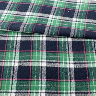 Фланель сорочкова синя темна в зелено-біло-рожеву клітку ш.144 оптом