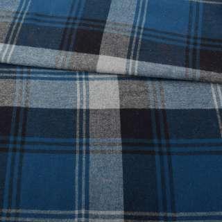 Фланель сорочкова синя в велику чорно-сіру клітку ш.145 оптом