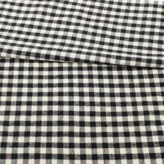 Фланель сорочкова молочна в чорну клітинку ш.147 оптом