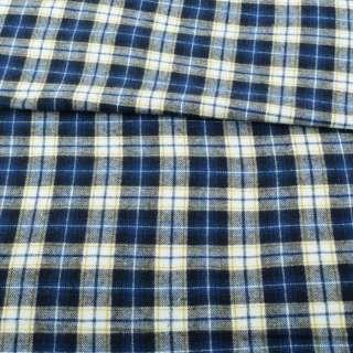 Фланель сорочкова синя в біло-жовту клітку ш.148 оптом
