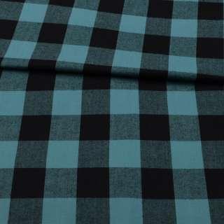 Фланель сорочкова бірюзова в чорну клітинку ш.150 оптом