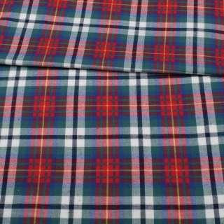 Фланель сорочкова в червоно-синьо-зелену клітку ш.150 оптом