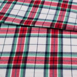 Фланель сорочкова біла в червоно-синьо-зелену клітку ш.150 оптом