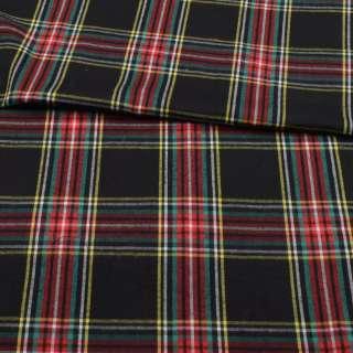 Фланель сорочкова чорна в червоно-жовту клітку ш.147 оптом