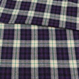 Фланель сорочкова фіолетова в молочно-зелену клітку, ш.145 оптом