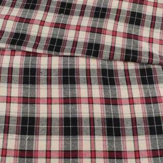 Фланель рубашечная молочная в красно-черную клетку, ш.145 оптом