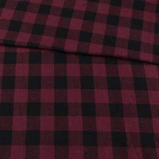 Фланель сорочкова бордова у велику чорну клітинку, ш.150 оптом
