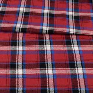 Фланель рубашечная красная в черно-голубую, белую клетку, ш.145 оптом