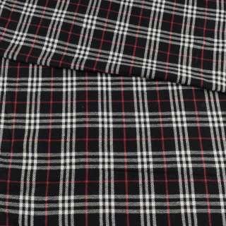 Фланель рубашечная черная в бело-красную клетку, ш.150 оптом