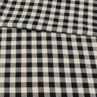 Фланель сорочкова в молочно-чорну клітинку з сріблястим люрексом, ш.145 оптом