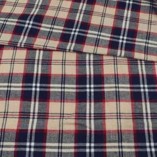 Фланель сорочкова бежева в червоно-синю клітку, ш.145 оптом