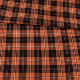 Фланель сорочкова помаранчева в чорно-білу клітинку, ш.150 оптом