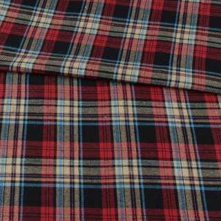 Фланель рубашечная черная в красно-бежевую, голубую клетку, ш.145 оптом