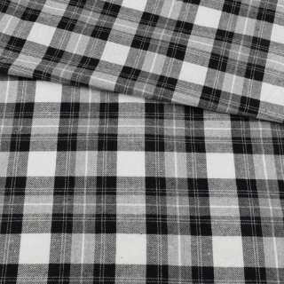 Фланель сорочкова біла в сіро-чорну клітинку, ш.145 оптом