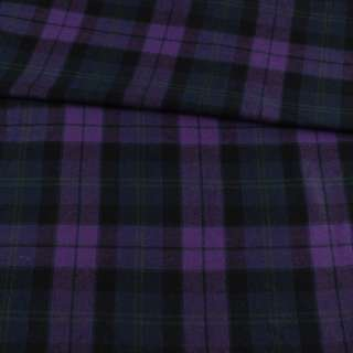 Фланель рубашечная фиолетовая в черно-синюю клетку, ш.145 оптом