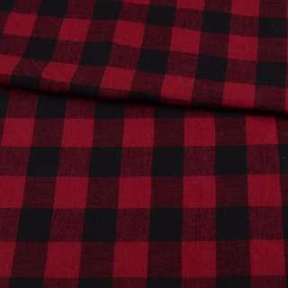 Фланель рубашечная в красно-черную клетку с малиновым оттенком, ш.145 оптом