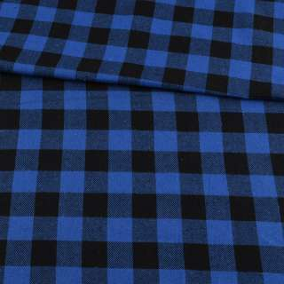 Фланель рубашечная синяя ультра в черную клетку 25х25мм, ш.145 оптом