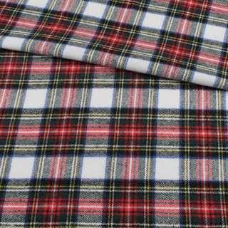 Фланель сорочкова біла в червоно-зелену, жовту клітку ш.145 оптом