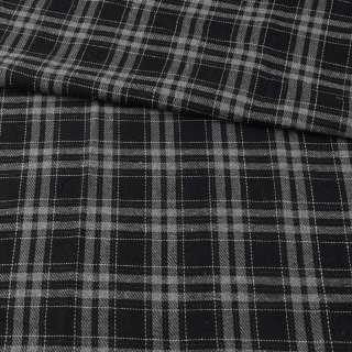 Фланель сорочкова чорна в сіру клітину ш.145 оптом