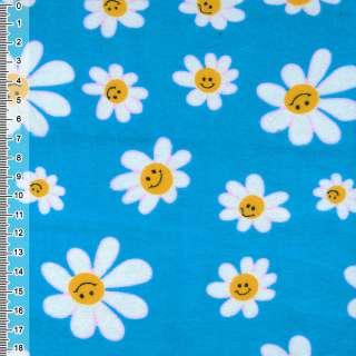 Фланель синяя светлая с белыми ромашками ш.110 оптом