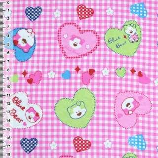 Фланель розовая сердечки с мишками ш.110 оптом