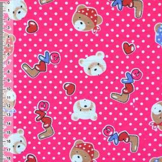 Фланель ярко-розовая с мишками LOVE ш.110 оптом
