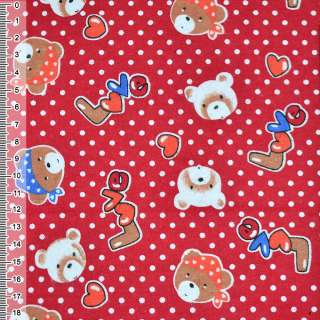 Фланель красная с мишками LOVE ш.110 оптом