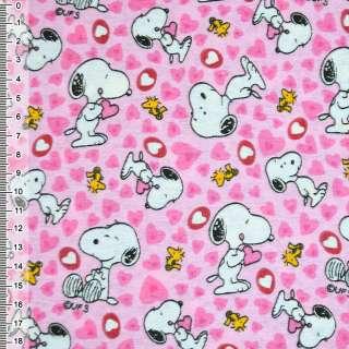 Фланель розовая собачка с сердечками ш.110 оптом