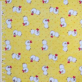 Фланель желтая с цыплятами ш.105 оптом
