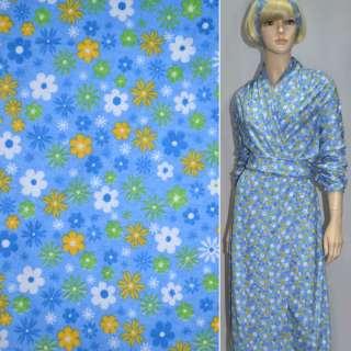 Фланель голубая с разноцветными цветами ш.110 оптом