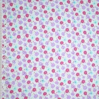 Фланель белая с фиолетово-малиновыми ягодами ш.110 оптом