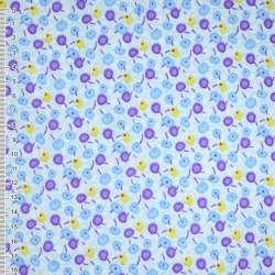 фланель белая с сиренево-голубыми ягодами ш.110 оптом
