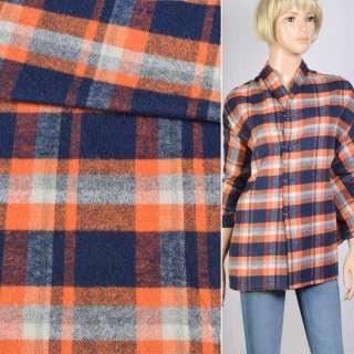 Фланель рубашечная бело-оранжево-синяя, ш.145 оптом