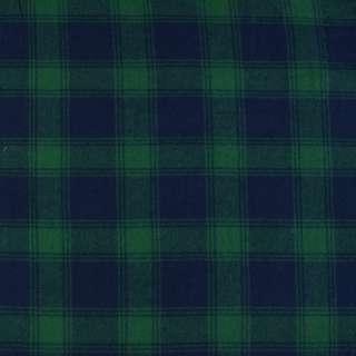 фланель рубашечная синяя в зеленую клетку ш.140 оптом