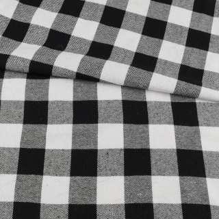 Фланель сорочкова в чорно-білу велику клітку, ш.145 оптом