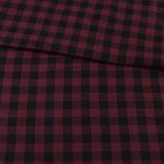 Фланель рубашечная бордовая в черную клетку, ш.145 оптом