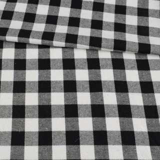 Фланель сорочкова в чорно-білу клітинку, ш.145 оптом