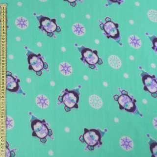 Флис бирюзовый, пингвины и снежинки, ш.170 оптом