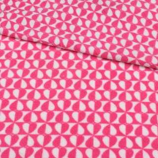 Флис розово-белые сердца на шахматке ш.190 оптом
