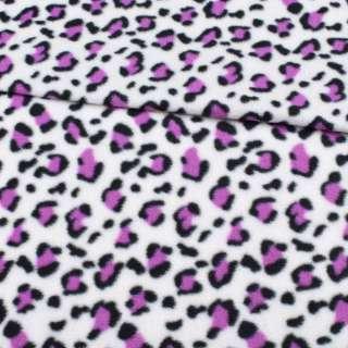 Флис белый, черно-фиолетовый принт леопард ш.185 оптом